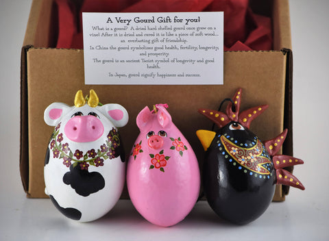 Barnyard Trio Gourd Ornament Set,  Christmas Ornaments, For Your Tree, Perfect Gift for Animal Lover, Rooster, Pig, Cow
