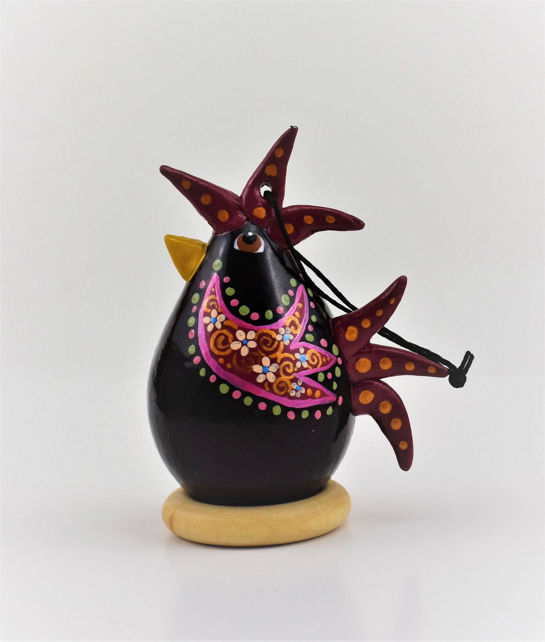 Rooster Art,  Ornament, Gourd Art, Black Rooster,  Red wings, polka dot,  Barnyard Decor