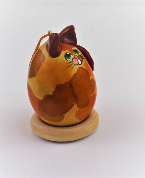 Calico Cat, Gourd Art, Ornament, Cat lover gift, OOAK, Creative Cat, Original Decor, Christmas Ornament, - Gourdaments