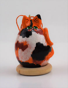 Calico Cat, Gourd Art, Ornament, Goldfish, , calico cat art, OOAK, Folk art cat, Holiday Ornament, Egg Gourd - Gourdaments