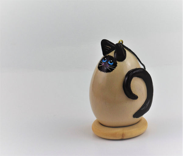 Siamese Cat Gourd Art Hand painted OOAK Christmas Ornament Blue Eyes Curled Tail Siamese Points Cat Lover Gift - Gourdaments