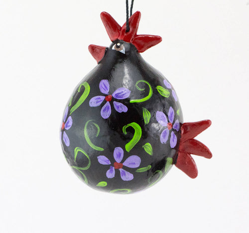 Chicken Christmas Ornament ,  Rooster Art ,  Gourd Art ,  Black Rooster ,   Red wings ,  polka dot ,   Barnyard Decor ,  australorp chicken ,  Chicken Art - Gourdaments