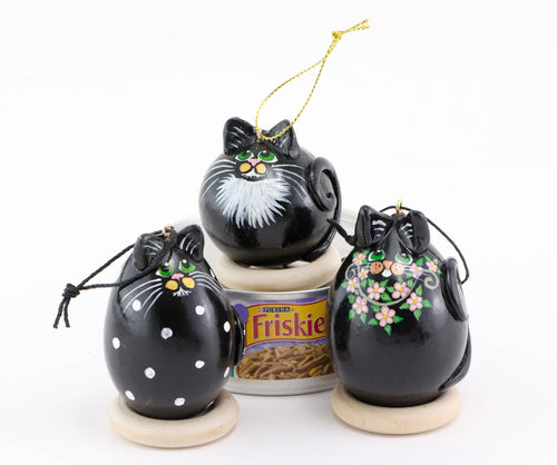 Tuxedo Cat Ornaments -  Gourd Art - Kitty Christmas - Unique Ornament - - Christmas Ornaments - Perfect Gift for Cat Lover - Gourdaments
