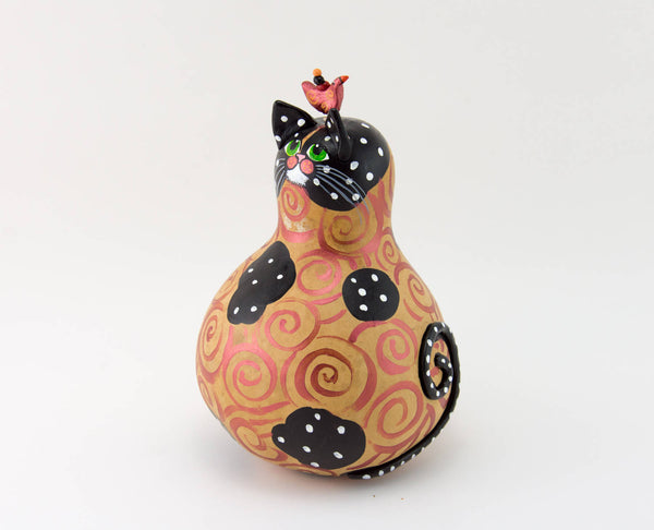 Gift for cat lovers -  Black Cat - Cat Decor - Polka Dot -  Crazy Cat Lady Gift - Green eyes -  Best Cat Gift - Gourd Art - Gourdaments
