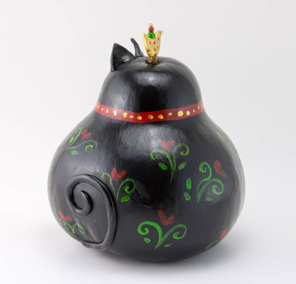 Black Cat - Gourd Art - Whimsical Cat - Folk Art - Bird -  Valentine's Day Gift - Cat Lover - Perfect Cat Gift - OOAK - Gourdaments