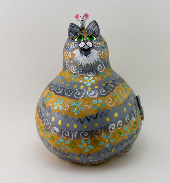 Gray Cat - Gourd Art - Blue Floral Design - Gold Accents - Cat and Mouse - Acrylic Paints - Painted Gourd - OOAK Cat -  Kitty Cat Art