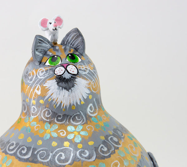 Gray Cat - Gourd Art - Blue Floral Design - Gold Accents - Cat and Mouse - Acrylic Paints - Painted Gourd - OOAK Cat -  Kitty Cat Art - Gourdaments