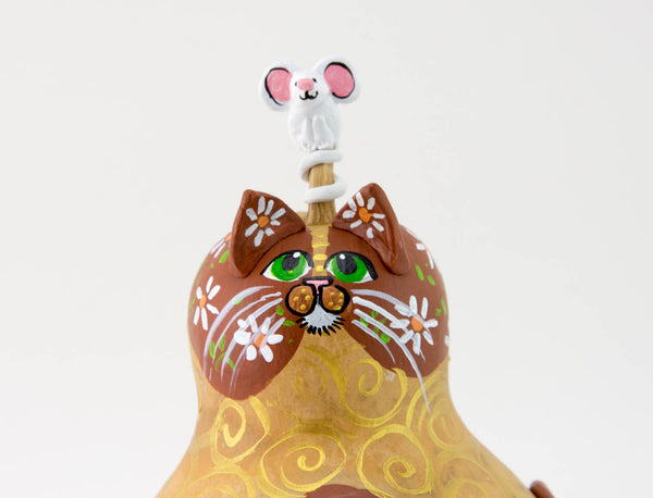 Daisy Cat -  Gourd Art -  Painted Gourd -  Gourd Cat -  Handmade -  Mother's Day Gift - Valentine's Day Cat -  Crazy Cat Lady Gift - Gourdaments