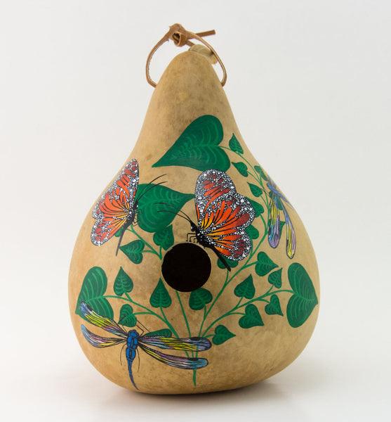Butterfly Birdhouse -  Dragonfly - Hand painted Gourd - Decorative Gourd Art - Painted Gourd - Natural Home Decor - - Gourdaments