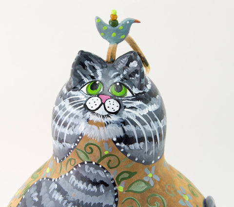Gray Stripped Tabby Cat, Gourd Art, Cat Folk Art, Cat lover gift, Crazy Cat Lady Gift, Floral, Green Vines
