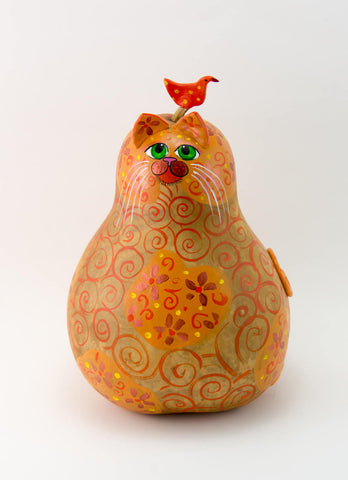Orange Tabby Cat, Floral Design, Cat Lovers Gift, Folk Art Cat, Bird on head of Cat, Acrylic on Gourd, Hand Painted Gourd