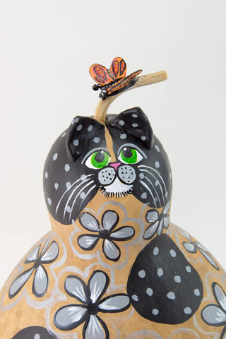 Gray Floral Cat, Butterfly, Hand painted Gourd, Perfect Cat Lover Gift, Gourd Art, Folk Art,  Crazy Cat Lady Gift, Black and Gray Cat,