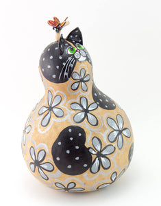 Gray Floral Cat, Butterfly, Hand painted Gourd, Perfect Cat Lover Gift, Gourd Art, Folk Art,  Crazy Cat Lady Gift, Black and Gray Cat, - Gourdaments