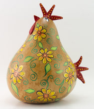Load image into Gallery viewer, Country chicken decor, Funky Chicken,  Floral Design, Gourd Art,  Chicken Lovers Gift, Natural Decor,  Folk Art Sculpture, OOAK, Handmade - Gourdaments