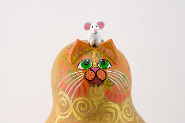 Calico Cat - Folk Art Cat -  Gourd Art -  Patchwork Floral Design - Curled Tail - Whimsical Feline-  Original Cat Artwork - Mouse - Gourdaments