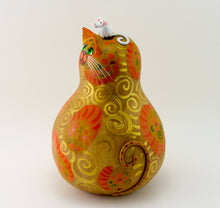 Load image into Gallery viewer, Calico Cat - Folk Art Cat -  Gourd Art -  Patchwork Floral Design - Curled Tail - Whimsical Feline-  Original Cat Artwork - Mouse - Gourdaments