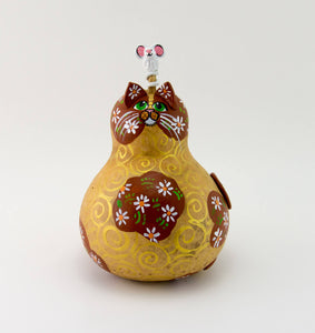 Daisy Cat -  Gourd Art -  Painted Gourd -  Gourd Cat -  Handmade -  Mother's Day Gift - Valentine's Day Cat -  Crazy Cat Lady Gift