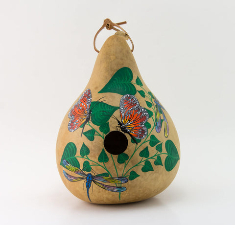 Butterfly Birdhouse -  Dragonfly - Hand painted Gourd - Decorative Gourd Art - Painted Gourd - Natural Home Decor -