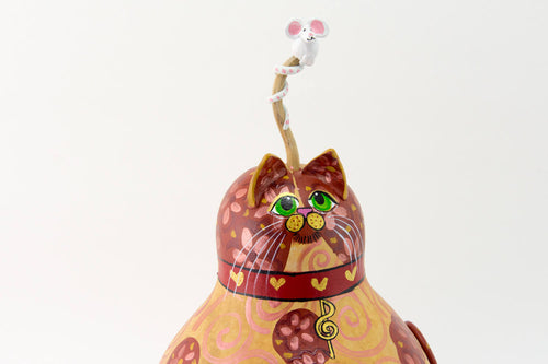 Orange Tabby Cat - Unique Kitty - Cat Art  -  Gourd Art - Painted Gourd -  Cat lover Gift - Folk Art Cat - Treble Clef - Music Lover Cat - Gourdaments