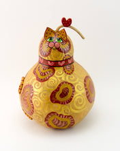 Load image into Gallery viewer, Orange Tabby Cat, Gourd Art, Cat Art, Kitty Cat, Cat Gourd, Gourdaments, Heart, Perfect Valentine's Day Gift, Gift for Cat Lover - Gourdaments