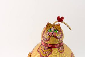 Orange Tabby Cat, Gourd Art, Cat Art, Kitty Cat, Cat Gourd, Gourdaments, Heart, Perfect Valentine's Day Gift, Gift for Cat Lover - Gourdaments