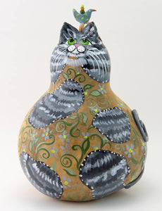 Gray Stripped Tabby Cat, Gourd Art, Cat Folk Art, Cat lover gift, Crazy Cat Lady Gift, Floral, Green Vines - Gourdaments