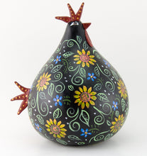 Load image into Gallery viewer, Chicken Art -  Gourd Decoration -  Sunflower Design -  Hand painted - OOAK  - Kitchen Chicken - Rooster Sculpture  Mother's Day Gift - Gourdaments