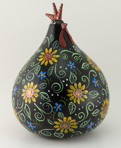 Chicken Art -  Gourd Decoration -  Sunflower Design -  Hand painted - OOAK  - Kitchen Chicken - Rooster Sculpture  Mother's Day Gift - Gourdaments