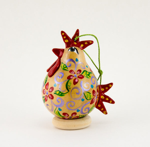 Chicken lover ,  Gourd Ornament ,   Buff Hen ,  Christmas Ornament ,   Chicken Ornament ,  Red Floral ,  Unique Chicken gift - Gourdaments