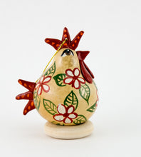 Load image into Gallery viewer, Chicken lover ,  Gourd Ornament ,   Buff Hen ,  Christmas Ornament ,   Chicken Ornament ,  Red Floral Design ,   ,  Unique Chicken gift - Gourdaments