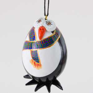 Penguin Ornament - Plaid Scarf - Penguin Gift - Handmade Penguin - Penguin Gift - Gourd Art - Hand painted Gourd - Penguin Collection - Gourdaments