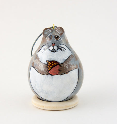 Squirrel Ornament, Tree Squirrel, Gray,  Gourd Ornament, Holiday Ornament, Squirrel Collector, Wildlife Ornament,  Christmas Ornament - Gourdaments