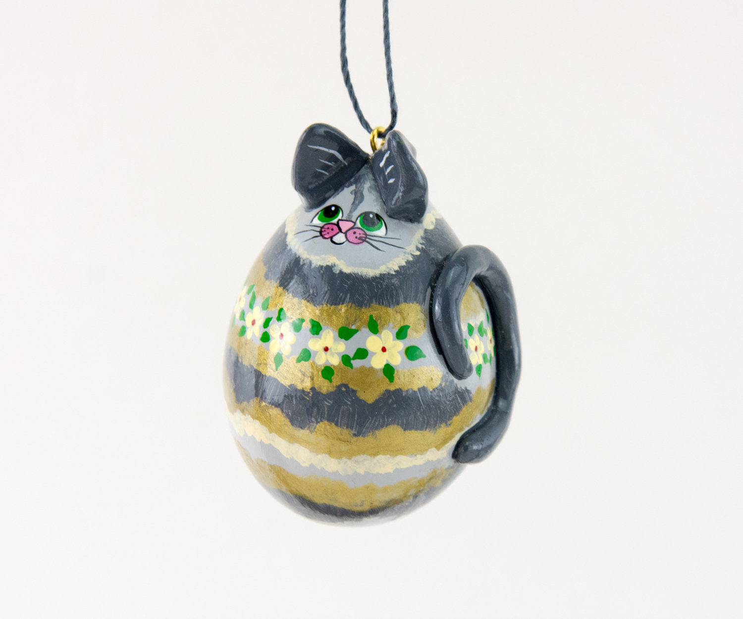 Cat Ornament, Christmas Cat, Grey Tabby, Silver Tiger Cat, OOAk, Green Eyes,  Teacher Gift, Kitty Ornament, Kitty Cat,  Cat lover gift - Gourdaments