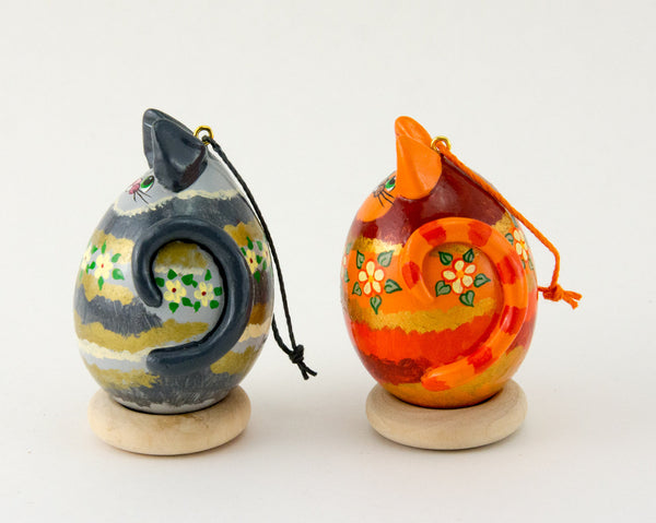 Orange Tabby cat, Grey Tabby Cat, Set of 2 Ornaments, Painted Gourds, Holiday Ornament Gift Set, Christmas Ornament - Gourdaments