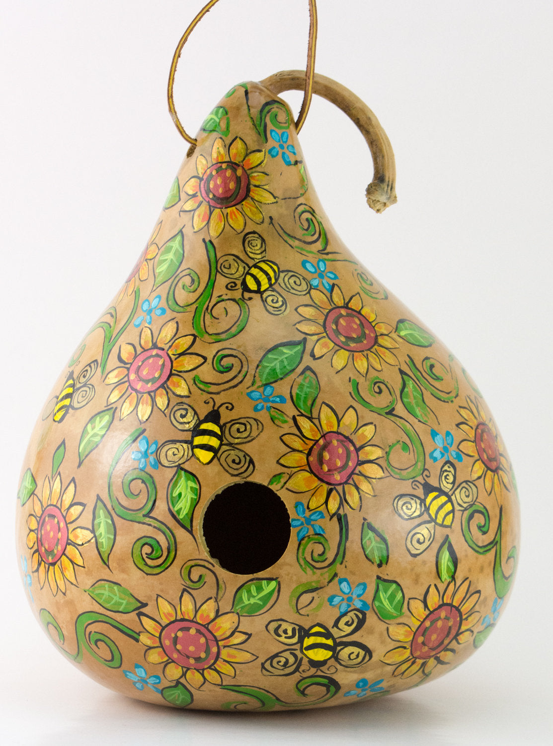 Sunflower Gourd Birdhouse ,   Garden Art ,   Honey Bees ,  Bees and Birdhouses ,  Perfect Mother's Day Gift - Gourdaments