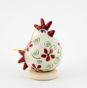 Chicken lover ,  Gourd Ornament ,   White Hen ,  Christmas Ornament ,   Chicken Ornament ,  Red Floral ,  Chicken gifts - Gourdaments