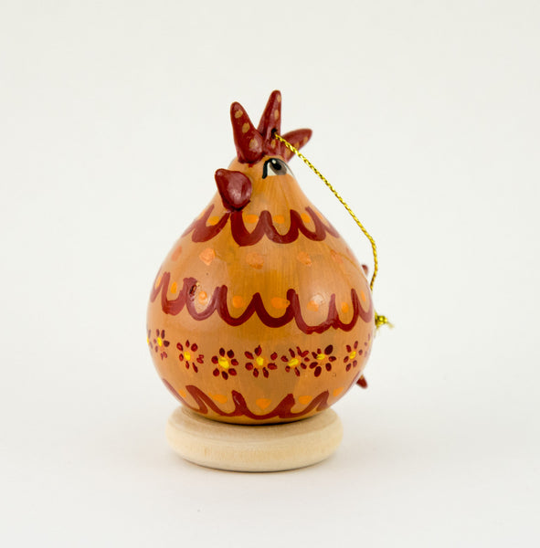 Chicken lover ,  Gourd Ornament ,   Buff Hen ,  Christmas Ornament ,   Chicken Ornament ,  Red and yellow design ,   ,  Unique Chicken gift - Gourdaments