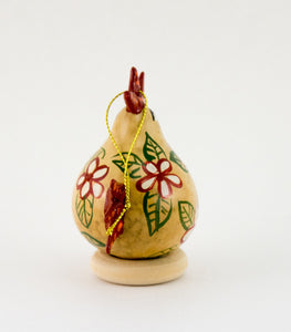 Chicken lover ,  Gourd Ornament ,   Buff Hen ,  Christmas Ornament ,   Chicken Ornament ,  Red Floral Design ,   ,  Unique Chicken gift - Gourdaments