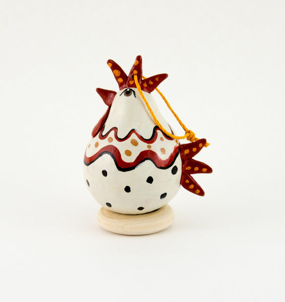 Chicken lover, Gourd Ornament,  Polka Dot Chicken, White Hen, Christmas Ornament,  Chicken Ornament,  Unique Chicken gift - Gourdaments