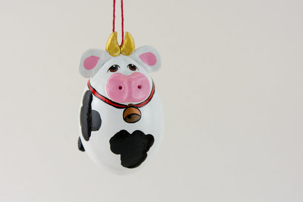 Cow Ornament - Gourd Art - Farm Animal - Holstein Cow - Diary Cow - Painted Gourd - Spotted cow -  Black and white cow - - Gourdaments