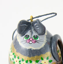 Load image into Gallery viewer, Cat Ornament, Christmas Cat, Grey Tabby, Silver Tiger Cat, OOAk, Green Eyes,  Teacher Gift, Kitty Ornament, Kitty Cat,  Cat lover gift - Gourdaments