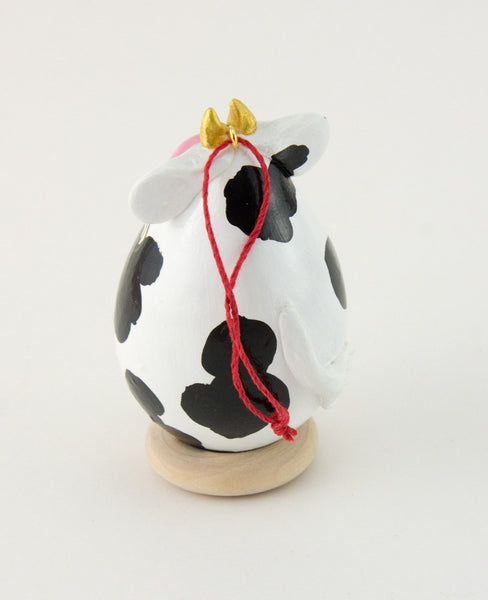 Cow Ornament, Gourd Art, Farm Animal,  Holstein Cow,  Diary Cow, Painted Gourd,  Spotted cow,  Black and white cow, Purple Floral - Gourdaments