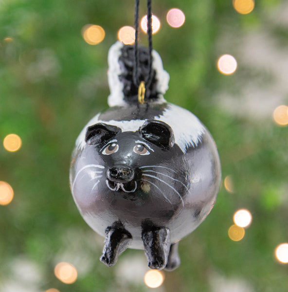 Skunk, Skunk Ornament,  Pole Cat Ornament,  Skunk Christmas Tree Ornament, Black with white stripes, Handmade OOAK Ornament, - Gourdaments