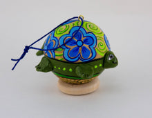 Load image into Gallery viewer, Turtle Ornament, Turtle Art, Painted Gourd, Ornament, OOAK, Unique gift, Turtle Love, Vintage Folk, Christmas Ornament - Gourdaments
