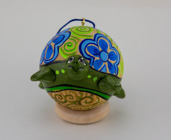 Turtle Ornament, Turtle Art, Painted Gourd, Ornament, OOAK, Unique gift, Turtle Love, Vintage Folk, Christmas Ornament - Gourdaments