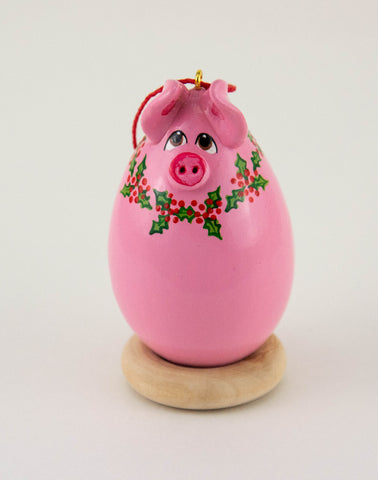 Pig Ornament - Pink Pig - Painted Gourd - Gourdament - Christmas Ornament - Holiday Decor- Holly Blossoms - OOAK - Perfect Gift - Pig Lover - Gourdaments