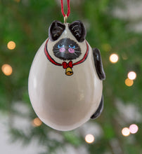 Load image into Gallery viewer, Siamese Cat, Gourd Ornaments, Red bow, bell, Siamese decor, Kitty Ornament,  Siamese Cat Lover Gift, - Gourdaments