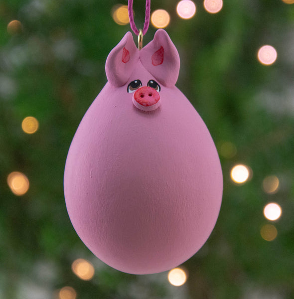 Pig Ornament - Pink Pig - Painted Gourd - Gourdament - Christmas Ornament - Holiday Decor- OOAK - Perfect Gift - Pig Lover - Gourdaments