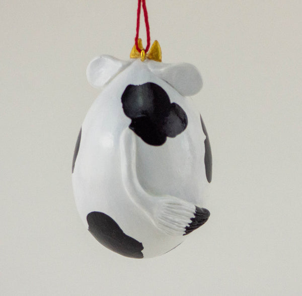 Cow Ornament - Gourd Art - Farm Animal - Holstein Cow - Diary Cow - Painted Gourd - Spotted cow -  Black and white cow - Holly design - Gourdaments