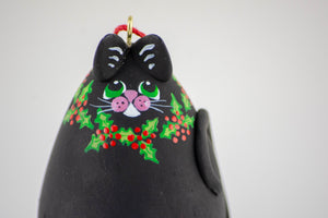 Black Cat-  Holly  - Christmas Ornament - Cat Art - Cat Ornament-  Holly Decor - Holiday Decor - Cat Christmas -  Kitty - - Gourdaments